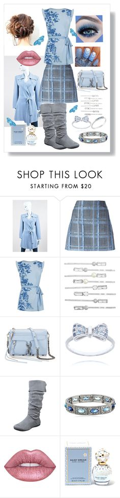 """Light Blue Beauty"" by snowflakeunique ❤ liked on Polyvore featuring Oscar de la Renta, Versace, Oasis, Henri Bendel, Rebecca Minkoff, 1928, Lime Crime and Marc Jacobs"