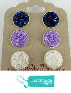 Trio Silver-Tone Stud Earrings 12mm Faux Druzy Stone Midnight Blue Lavender White from Summerfield Collection https://www.amazon.com/dp/B01HX0ZPUE/ref=hnd_sw_r_pi_dp_0bMGxbFWDW8PK #handmadeatamazon