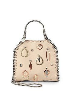 Stella McCartney Falabella Mini Baby Bella Embellished Faux Suede Shoulder Bag