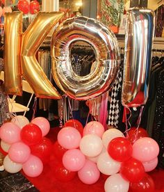 Gold balloons at a Minnie Mouse birthday party! See more party planning ideas at CatchMyParty.com!