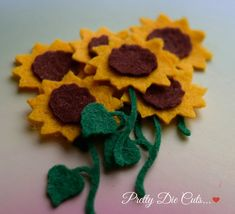 Felt Sunflowers, Die Cut Craft Embellishments - pinned by pin4etsy.com