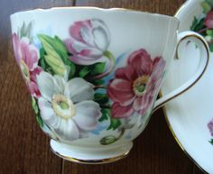 Adderley Fine Bone China England - Vintage Tea Cup and Saucer by OfftheShelf2015 on Etsy