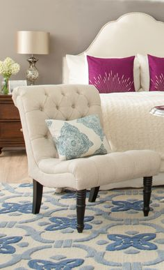lovely white decor with pops of pink and blue