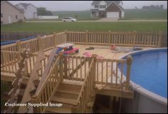 1000 images about pool decks on pinterest above ground for Above ground pool decks attached to house