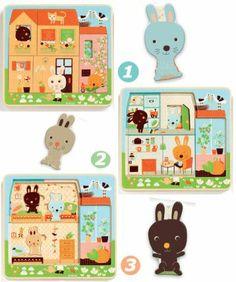 Rabbit Cottage 3 layer Puzzle | Niddle Noddle