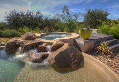 Spa Waterfall Hot Tub | Hot Tubs Patio with Natural Blending Waterfall Designing a Hot Tubs ...