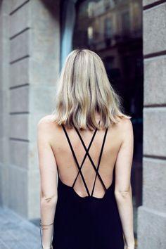 Backless style | Blonde | Black dress