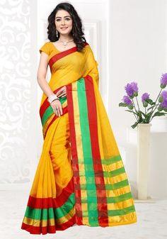 Yellow Color Doriya Cotton Casual Party Sarees : Akshira Collection  YF-51460
