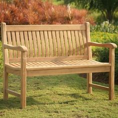 Soundly constructed, high quality teak park bench that is perfect as a memorial bench.