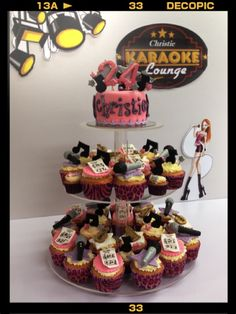 """""""karaoke"""" theme cupcakes tower ! is special made for a friend's 24 birthday who loves singing a lot!"""