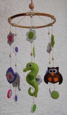Felt animals baby mobile with flowers and butterflies by suyika