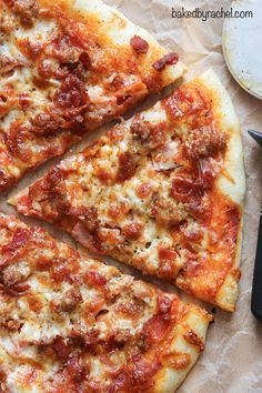 Homemade thin crust meat lover's pizza recipe from /bakedbyrachel/
