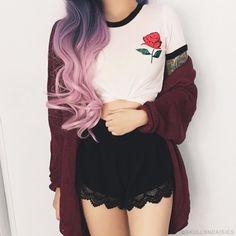 lace shorts//rose shirt