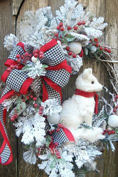 Christmas Wreath Arctic Fox Snow Fox Christmas by FancyThatDecor