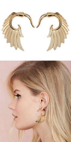 Wing and a Prayer Tunnel Earrings #earrings #jewelry