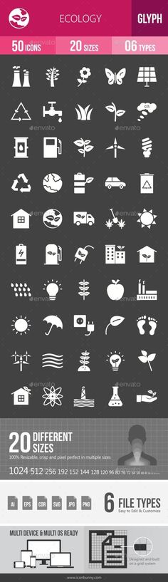 Ecology Glyph Inverted Icons