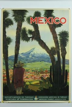 Vintage Mexico Travel Poster 1945