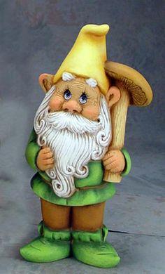 gnome clay statue | Standing Mushroom Hunting Garden Gnome Ceramic Sculpture [Boris]