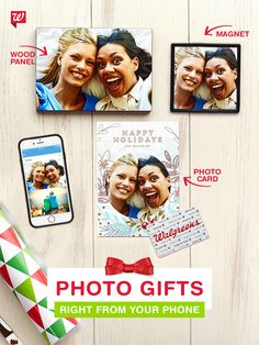 With our free mobile app, the perfect cards and photo gifts are at your fingertips. Order cards, wood panels, magnets and more straight from your phone and pick it up today!