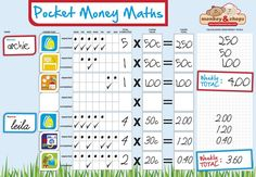 NEW - Pocket Money Maths Chart - Magnetic - PRE ORDER