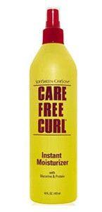 Care Free Curl - Instant Moisturizer - SoftSheen Carson. Active et hydratante en une seule étape facile. Restaure les boucles, lisse les cheveux et ajoute de la brillance tandis que les hydratants de soie adoucissent et aident à prévenir la casse. Laisse les cheveux soyeux. Formule non grasse.