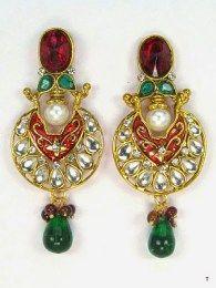 Huge Dangler Designed Earrings With Multi Stones