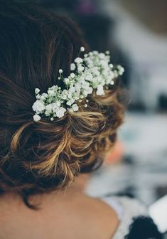 The Perfect Wedding Hair Updo - Featuring Romantic Gypsophila Flowers To Create A Vintage Look, This Is One Of The Prettiest Hair Ideas We've Seen See More Of This Romantic Italian Style Reception In An English Country Barn Wedding Ideas Magazine Country Barn Weddings, Country Style Wedding, Rustic Wedding, Country Barns, Quirky Wedding, Italian Wedding Themes, Italian Wedding Dresses, Pretty Hairstyles, Wedding Hairstyles