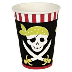 Pirate Party Cups - A great cup for a pirate party featuring a skull and crossbones design with surrounding geometric patterns. Quantity: Pack of 12 cups. Size: 9 oz. Can contain hot or cold drinks. #pirates #party #birthday #pierrebelvedere