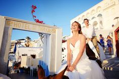 Santorini donkey ride  #santorini greece #wedding