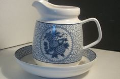 Asake China Pitcher and Bowl Blue and White by Castawayacres
