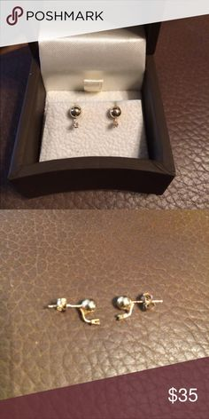 14kyg 2mm ball studs with .01ct diamond each These are perfect for your little one or for your teen that likes smaller jewelry! Very dainty and pretty! Jewelry Earrings