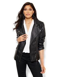 ab21154d47e9e Shop Quilted Faux-Leather Moto Jacket. Find your perfect size online at the  best