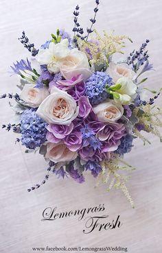 Brides bouquet, with hydrangeas, oxford blue, dwarf iris, and verbena as well as a rose gold wrap around the bouquet. Purple Wedding Bouquets, Bride Bouquets, Bridal Flowers, Floral Bouquets, Silk Flowers, Floral Wedding, Wedding Colors, Beautiful Flowers, Boho Wedding