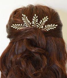Silver Fern Leaf Hair PinsSilver Bridal by RoslynHarrisDesigns