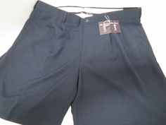 ALAN FLUSSER Golf Shorts Mens Sz 42 No Iron Stain Release Navy Blue Wicking New #AlanFlusser #Pleated