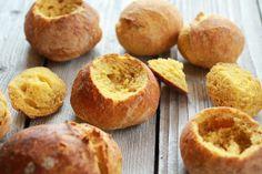 Super Easy Crusty No-Knead Pumpkin Bread Bowls.