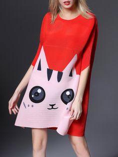 Polyester Casual Half Sleeve Animal Print Midi Dress
