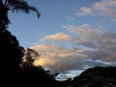 Céu, entardecer, nuvens