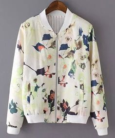 Stylish Long Sleeve Stand Collar Floral Printed Women's Jacket