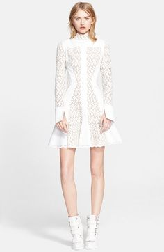 Alexander McQueen Fit & Flare Lace Inset Dress available at #Nordstrom
