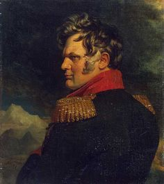 Aleksey Petrovich Yermolov (1777-1861) a Russian Imperial general of the 19th century who commanded Russian troops in the Caucasian War. He served in all the Russian campaigns against the French, except for the 1799 campaigns of Alexander Suvorov in northern Italy + Switzerland. Yermolov distinguished himself during the Napoleonic Wars at the Battles of Austerlitz, Eylau, Borodino, Kulm, + Paris. Afterwards he led the Russian conquest of the Caucasus. he was also a shrewd + cunning courtier,