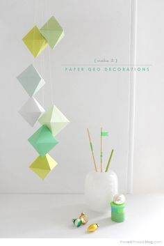 Print out a template to fold your own paper ornaments.
