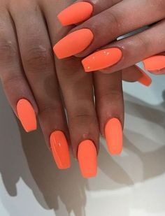 Acrylic Nail Art 695806211154881071 - Choose nail designs that best describe your dynamic personality and let this season be unique and unforgettable! There are all types of nail art designs, nail colors Source by eqzjrtk Bright Summer Acrylic Nails, Orange Acrylic Nails, Acrylic Nails Stiletto, Coffin Nails, Orange Nails, Summer Gel Nails, Pointy Nails, Beach Nails, Bright Nails