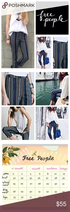 """🆕Free People Stripe Linen Blend Crop Pants.  NWOT 🆕 Free People Stripe Linen Blend Cropped Pants, 55% linen, 42% cotton, 3% spandex, washable, 30"""" waist, 10.5"""" front rise, 15.5"""" back rise, 25.5"""" inseam, 14"""" leg opening all around, high waist, banded flat waist, concealed side zip closure, measurements are approx.  New without tag, never worn.  NO TRADES Free People Pants Ankle & Cropped"""