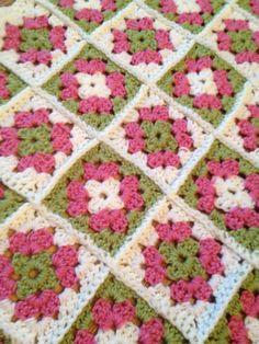 Granny Square Baby Crochet Blanket PinkWhite by SwansNestCreations, $25.00