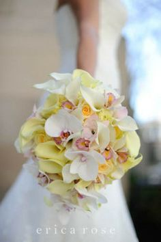 Wedding bouquet of pink and yellow calla lilies, orchids, roses by Kio Kreations. Image by Erica Rose Photography. I like the shape when callas are added. by angelia Bridal Flowers, Love Flowers, Beautiful Flowers, Purple Flowers, Spring Wedding Bouquets, Spring Bouquet, Bridal Bouquets, Wedding Events, Our Wedding