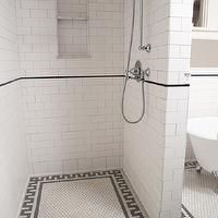 Clay Squared - bathrooms - wet room, wet room bathroom, walk-in shower, white subway tile, subway tile,