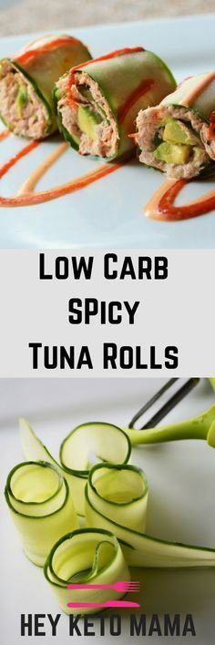 These 5 Minute Low Carb Spicy Tuna Rolls are deliciously fresh and come with just the right amount of kick! | heyketomama.com