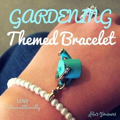 Gardening themed bracelet craft! Mother's day craft! Gift for gardeners. Plant lover gift. Tiffany blue and pearls! Bracelet craft! Gift Idea
