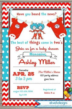 Thing One Thing Two Baby Shower Invitation - Twins baby Shower Invite